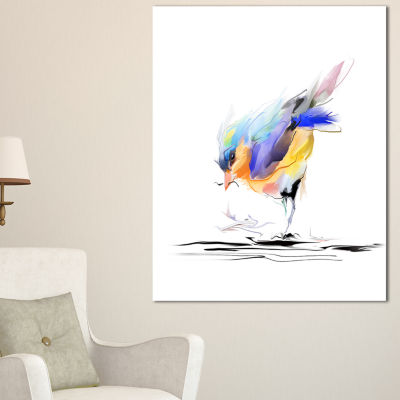Designart Cute Bird In Purple And Yellow Watercolor Painting Canvas Print - 3 Panels