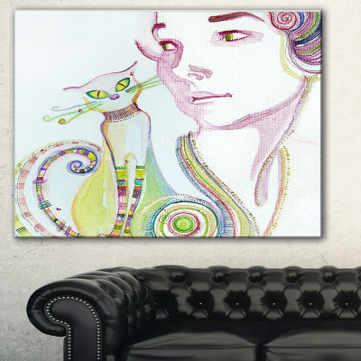 Designart Cute Girl With Cat Abstract Portrait Canvas Art Print
