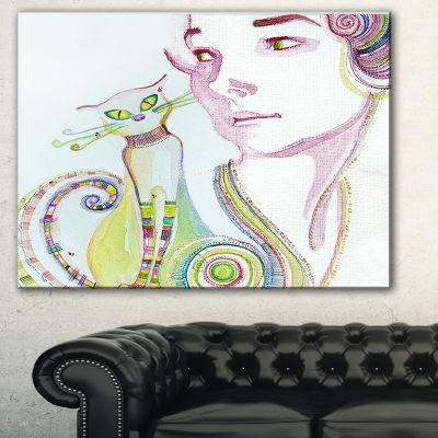 Designart Cute Girl With Cat Abstract Portrait Canvas Art Print - 3 Panels