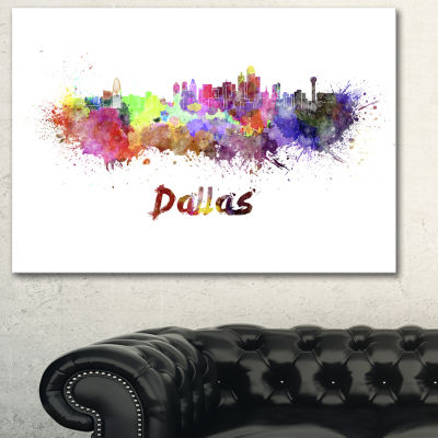 Designart Dallas Skyline Cityscape Canvas ArtworkPrint - 3 Panels