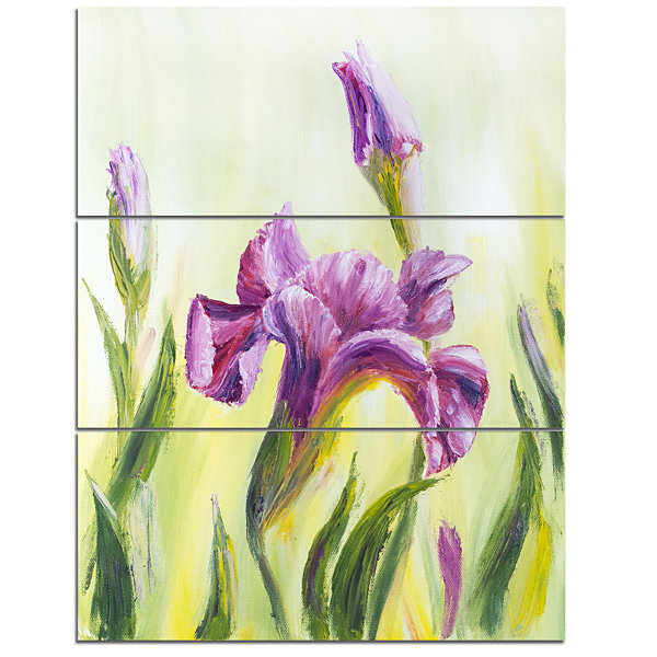 Designart Dancing Irises Floral Art Canvas Print-3Panels