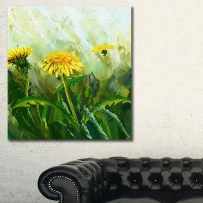 Designart Dandelion Flowers Floral Canvas Wall Art- 3 Panels
