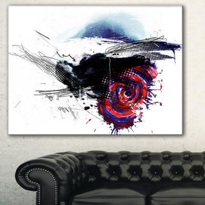 Designart Dark Blue Abstract Splashes Abstract Canvas Art Print - 3 Panels