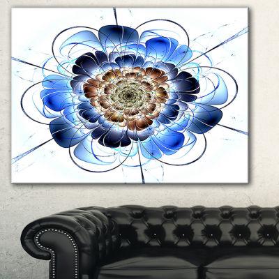 Designart Dark Blue Fractal Flower Floral Art Canvas Print