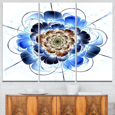 Designart Dark Blue Fractal Flower Floral Art Canvas Print - 3 Panels