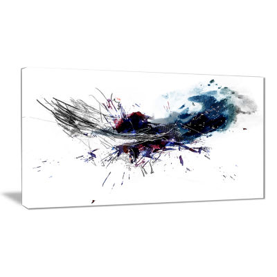 Designart Dark Blue Multicolor Stain Abstract Watercolor Canvas Print