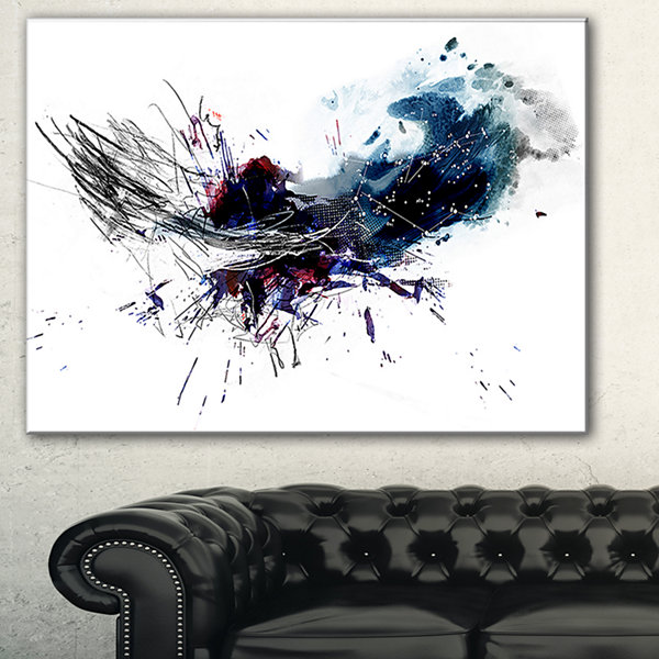 Designart Dark Blue Multicolor Stain Abstract Watercolor Canvas Print - 3 Panels
