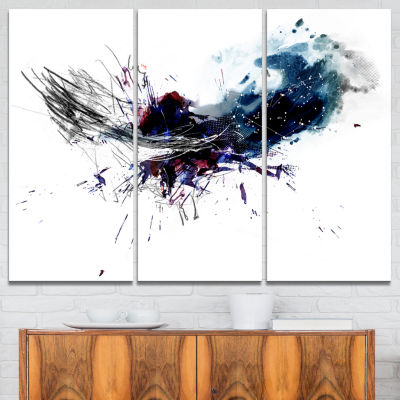 Design Art Dark Blue Multicolor Stain Abstract Watercolor Canvas Print - 3 Panels