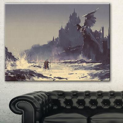 Designart Dark Fantasy Castle Landscape PaintingCanvas Print - 3 Panels
