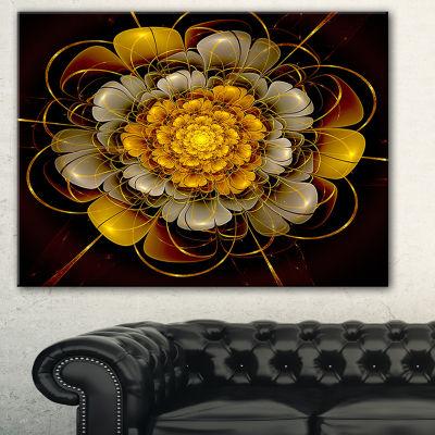 Designart Dark Gold Fractal Flower Abstract PrintOn Canvas - 3 Panels
