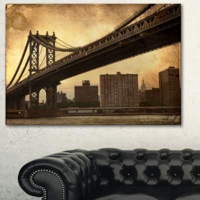 Designart Dark Manhattan Bridge Photography CanvasArt Print - 3 Panels