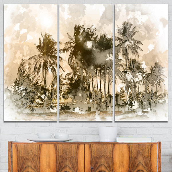 Designart Dark Palms At Sunset Landscape Art PrintCanvas - 3 Panels