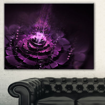 Designart Dark Pink Fractal Flower Abstract CanvasArt Print - 3 Panels