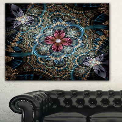 Designart Dark Purple Fractal Flower Floral Art Canvas Print