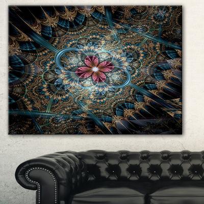 Designart Dark Purple Fractal Flower Large FloralArt Canvas Print - 3 Panels