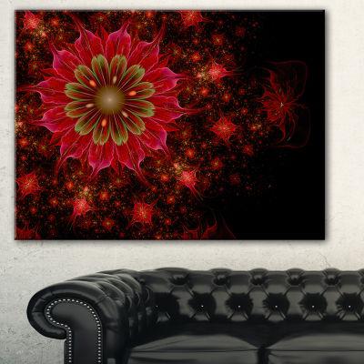 Designart Dark Red And Light Green Fractal FlowersAbstract Print On Canvas