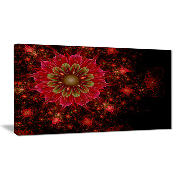 Designart Dark Red And Light Green Fractal FlowersAbstract Print On Canvas