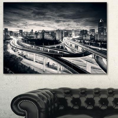 Designart Dark Shanghai City Cityscape PhotographyCanvas Print - 3 Panels