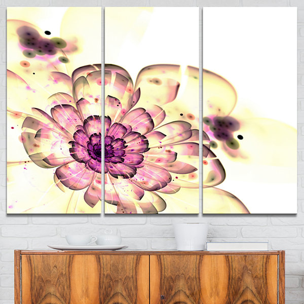 Designart Dark Yellow Fractal Floral Art AbstractPrint On Canvas - 3 Panels
