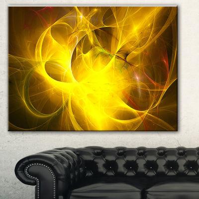Designart Dark Yellow Nebula Star Abstract CanvasArt Print - 3 Panels