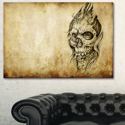 Designart Death Tattoo Art Abstract Portrait Canvas Print