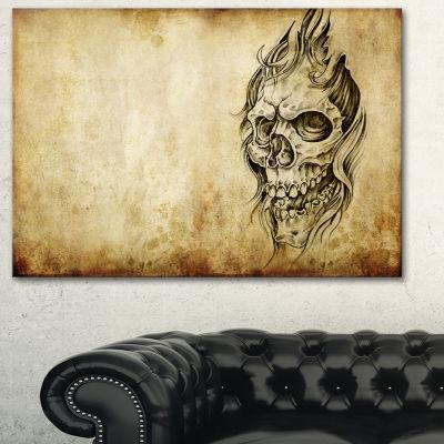 Designart Death Tattoo Art Abstract Portrait Canvas Print - 3 Panels