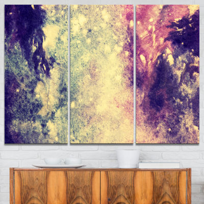 Designart Deep Blue And Purple Abstract Canvas Print - 3 Panels