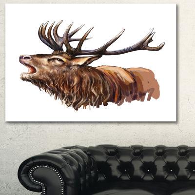 Designart Deer Head Illustration Art Animal CanvasArt Print