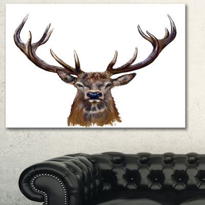 Designart Deer Head In Front Illustration Animal Art On Canvas - 3 Panels
