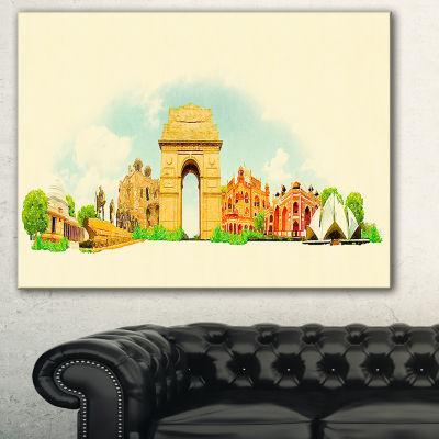 Designart Delhi Panoramic View Cityscape Watercolor Canvas Print