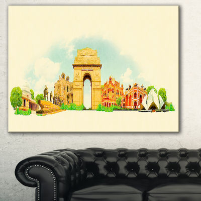 Designart Delhi Panoramic View Cityscape Watercolor Canvas Print - 3 Panels