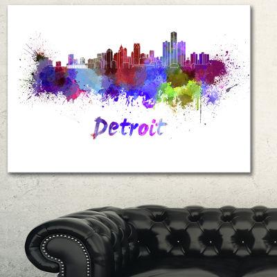 Designart Detroit Skyline Cityscape Canvas ArtworkPrint