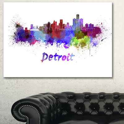 Designart Detroit Skyline Cityscape Canvas ArtworkPrint - 3 Panels