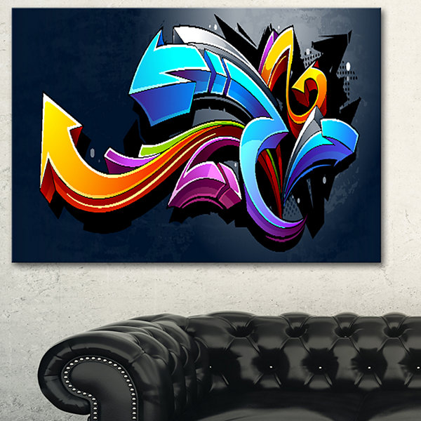Designart Direction Street Art Graffiti Canvas ArtPrint