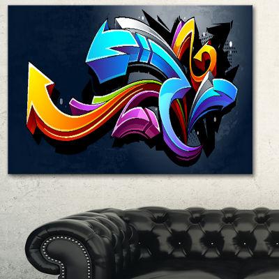 Designart Direction Street Art Graffiti Canvas ArtPrint - 3 Panels