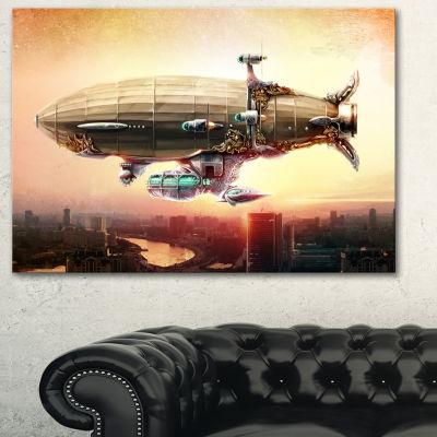 Designart Dirigible Balloon In Sky Over City Abstract Canvas Art Print