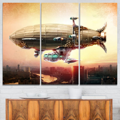 Designart Dirigible Balloon In Sky Over City Abstract Canvas Art Print - 3 Panels