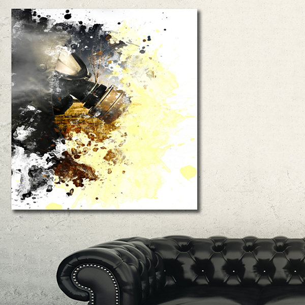 Designart Disaster Of War And Gas Abstract CanvasArt Print - 3 Panels