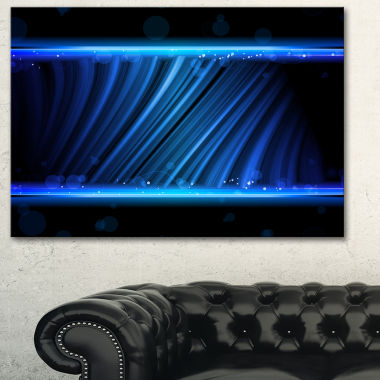 Designart Disco Blue Waves Contemporary Art CanvasPrint