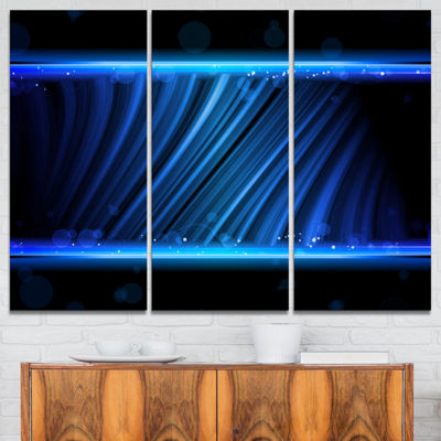 Designart Disco Blue Waves Contemporary Art CanvasPrint - 3 Panels