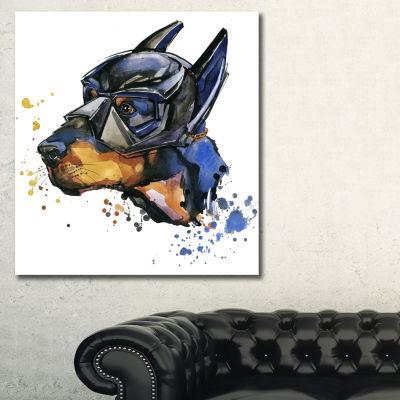 Designart Doberman Superman Animal Kids Canvas ArtPrint - 3 Panels
