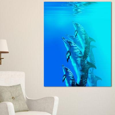 Designart Dolphin In Blue Sea Seascape Canvas ArtPrint - 3 Panels