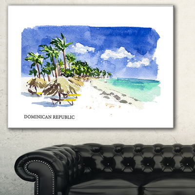Designart Dominican Republic Vector IllustrationCityscape Painting Canvas Print