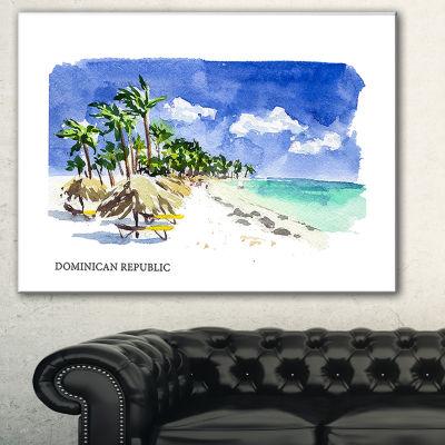 Designart Dominican Republic Vector IllustrationCityscape Painting Canvas Print - 3 Panels