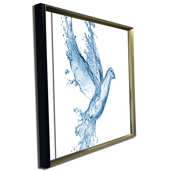 Designart Dove From Water Splashes Animal Canvas Art Print