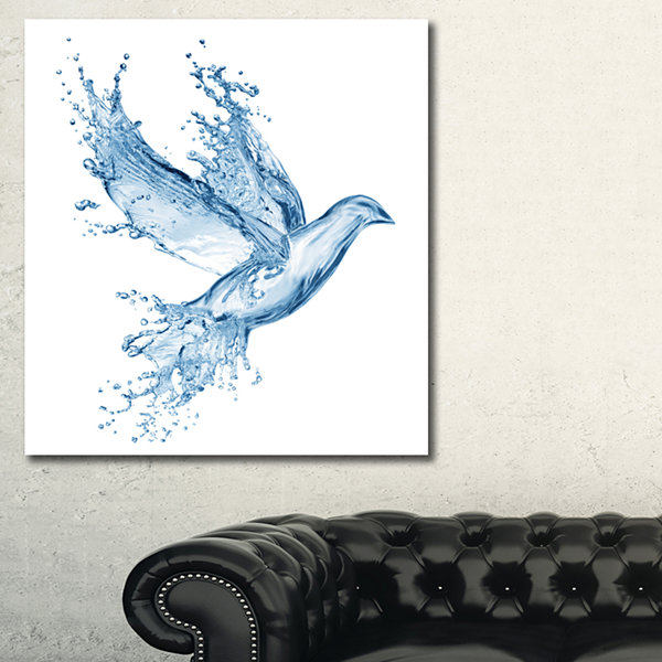 Designart Dove From Water Splashes Animal CanvasArt Print - 3 Panels