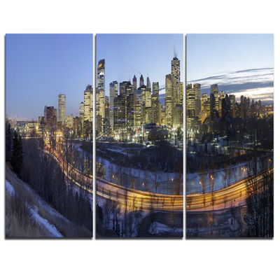 Designart Downtown Calgary Cityscape Photo CanvasPrint - 3 Panels