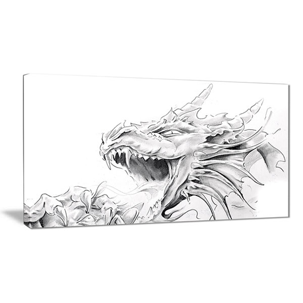 Designart Dragon Tattoo Sketch Abstract Print OnCanvas