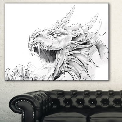 Designart Dragon Tattoo Sketch Abstract Print OnCanvas - 3 Panels