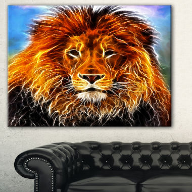 Designart Drawing Of The King Of Jungle Animal ArtCanvas Print